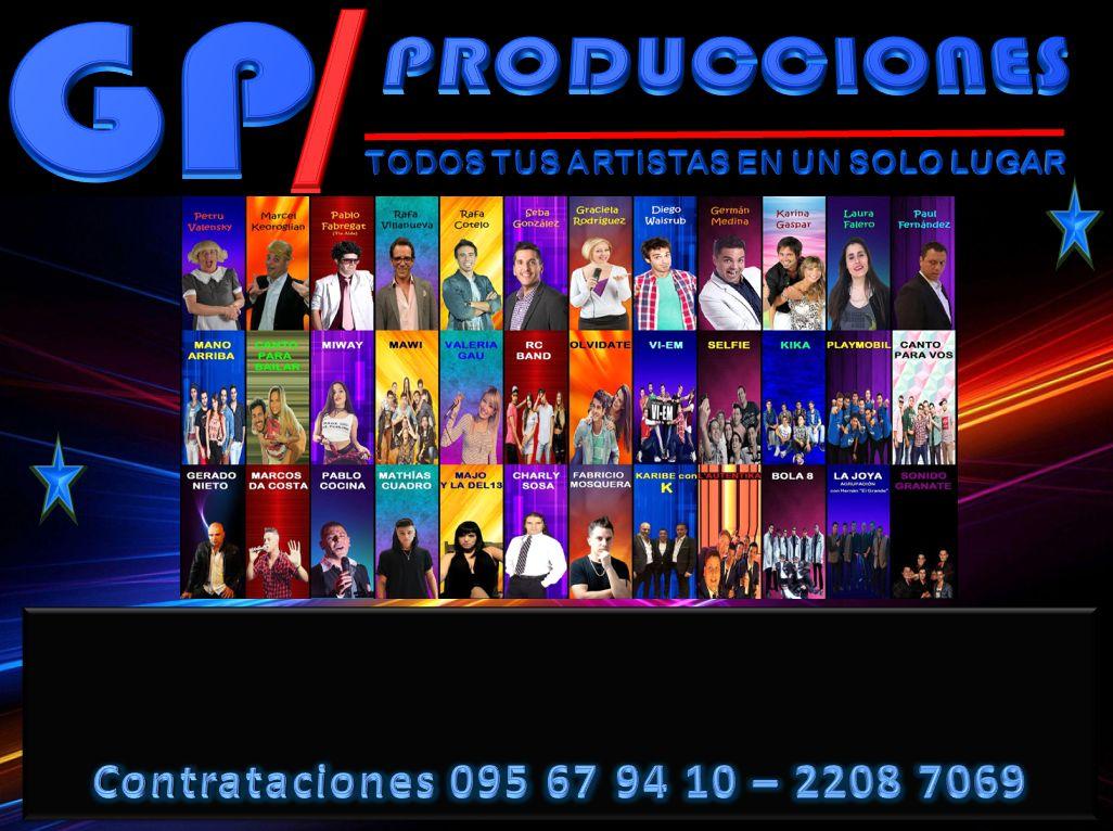 GP Producciones Uruguay, empresa Líder en Promoción, Representación y Difusión de Artistas. Eventos Empresariales, Despedidas de Año, Bodas, Cumpleaños, Aniversarios. Todos Tus Artistas en un solo Lugar. Humoristas, Conductores, Bandas y Grupos Musicales. Shows de Stand Up, Animación para Fiestas y Eventos Por Contrataciones 095 67 94 09 - 095 67 94 10 - 2208 7069 - 2203 6147 Web: www.gpproduccionesuruguay.com GP Producciones, compartimos juntos tus Mejores momentos. VÍVELO!